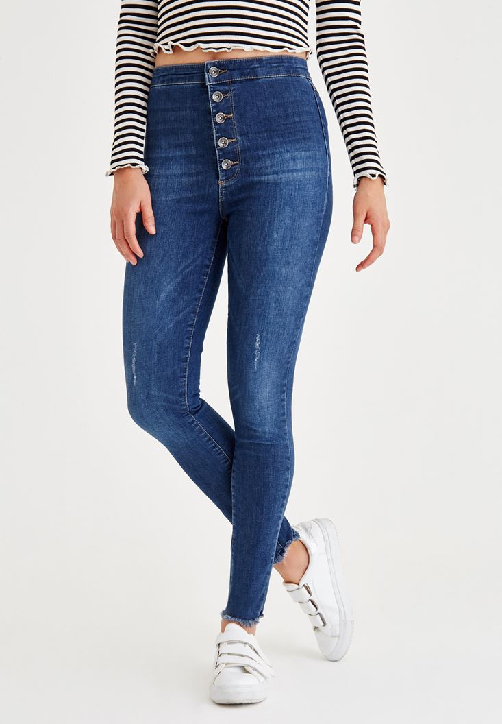 Blue Skinny Jeans With Buttons