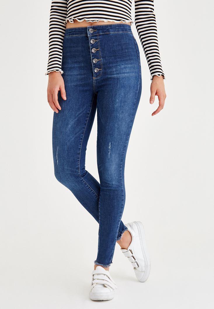 Mavi Çok Düğmeli Dar Paça Denim Pantolon