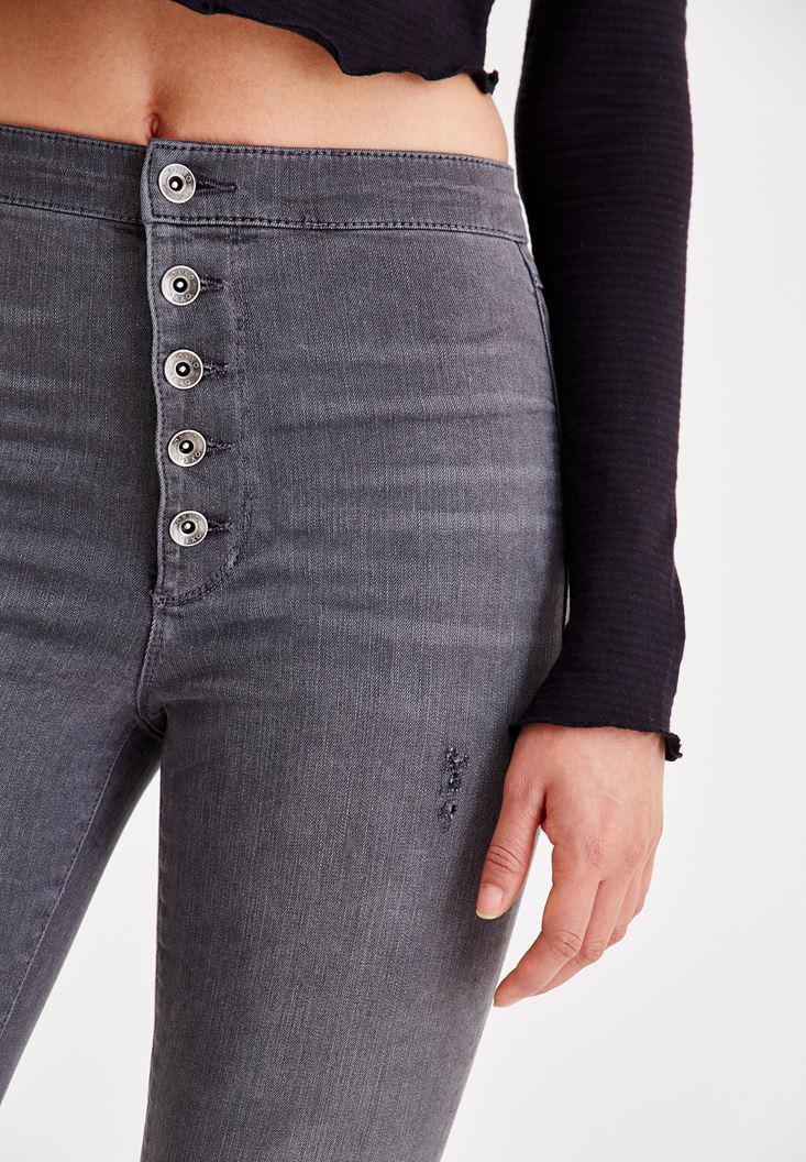 Bayan Gri Çok Düğmeli Dar Paça Denim Pantolon
