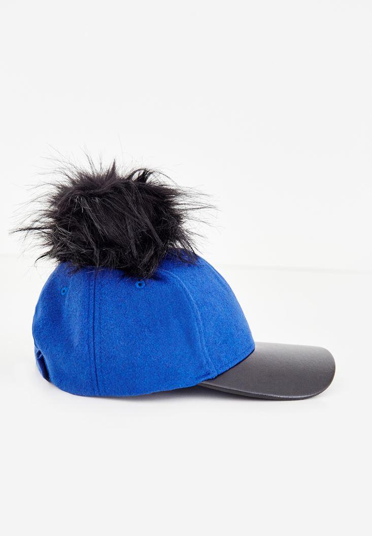 Lacivert Tüylü Deri Detaylı Şapka