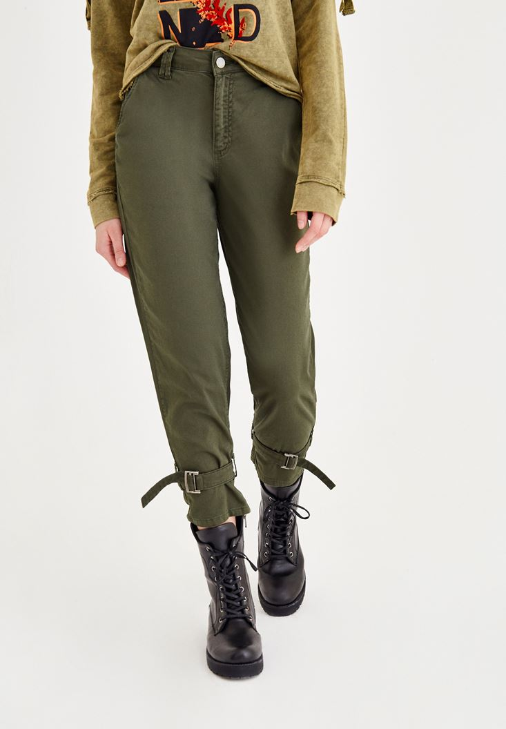 Green Pants with Ankle Details