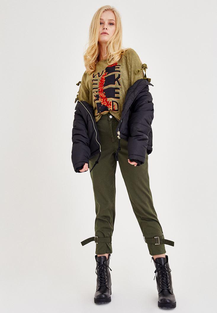 Bayan Yeşil Bilek Detaylı Bol Pantolon