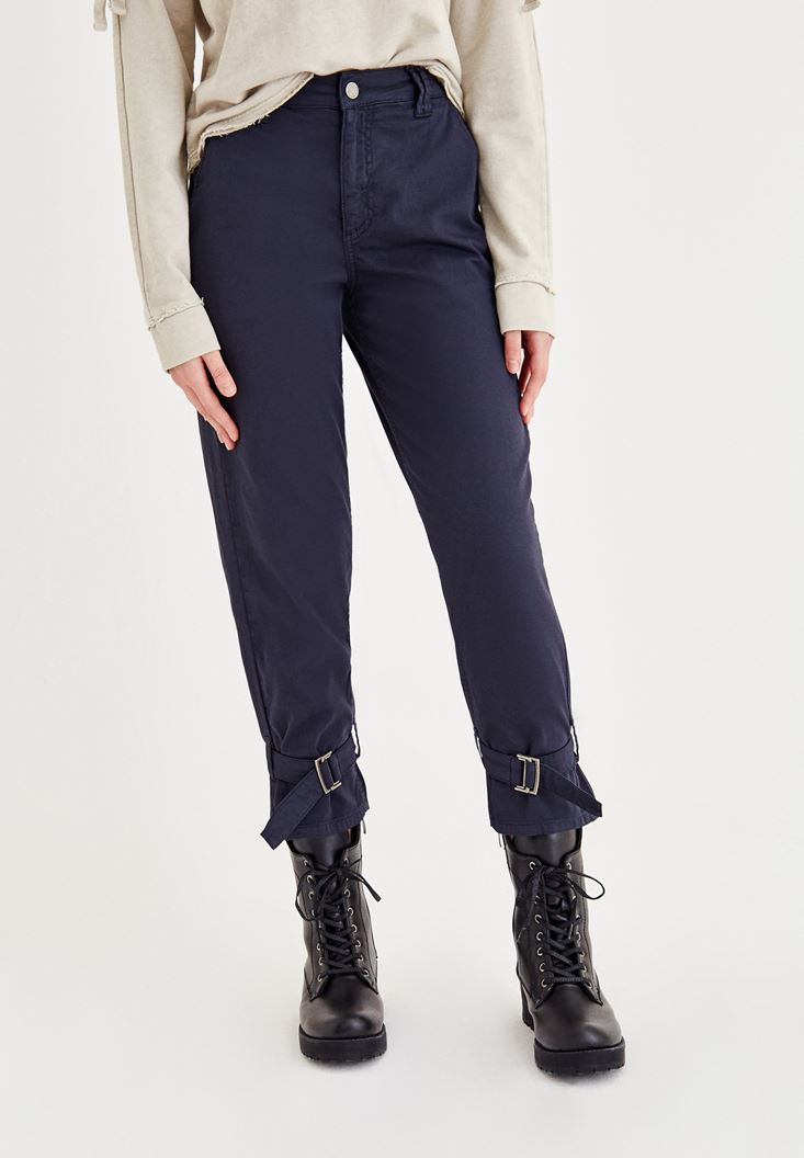 Lacivert Bilek Detaylı Bol Pantolon