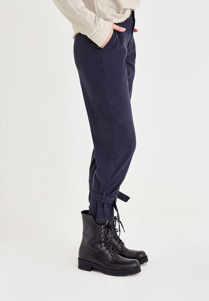 Bayan Lacivert Bilek Detaylı Bol Pantolon