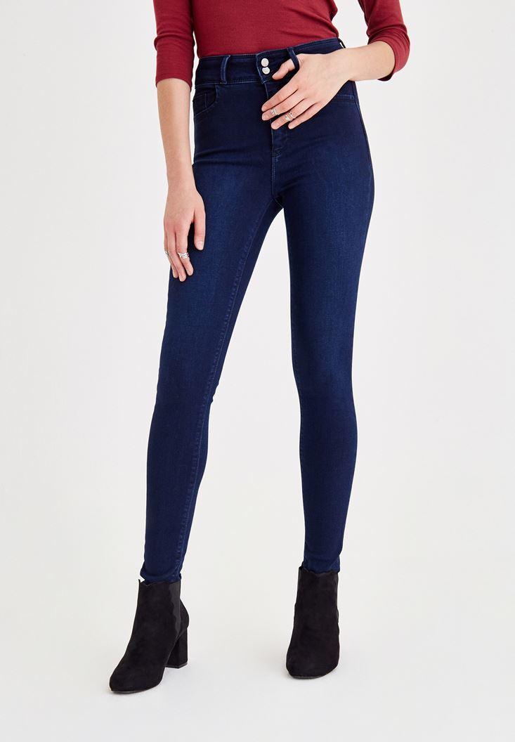 Mavi Yüksek Bel Paça Detaylı Pantolon