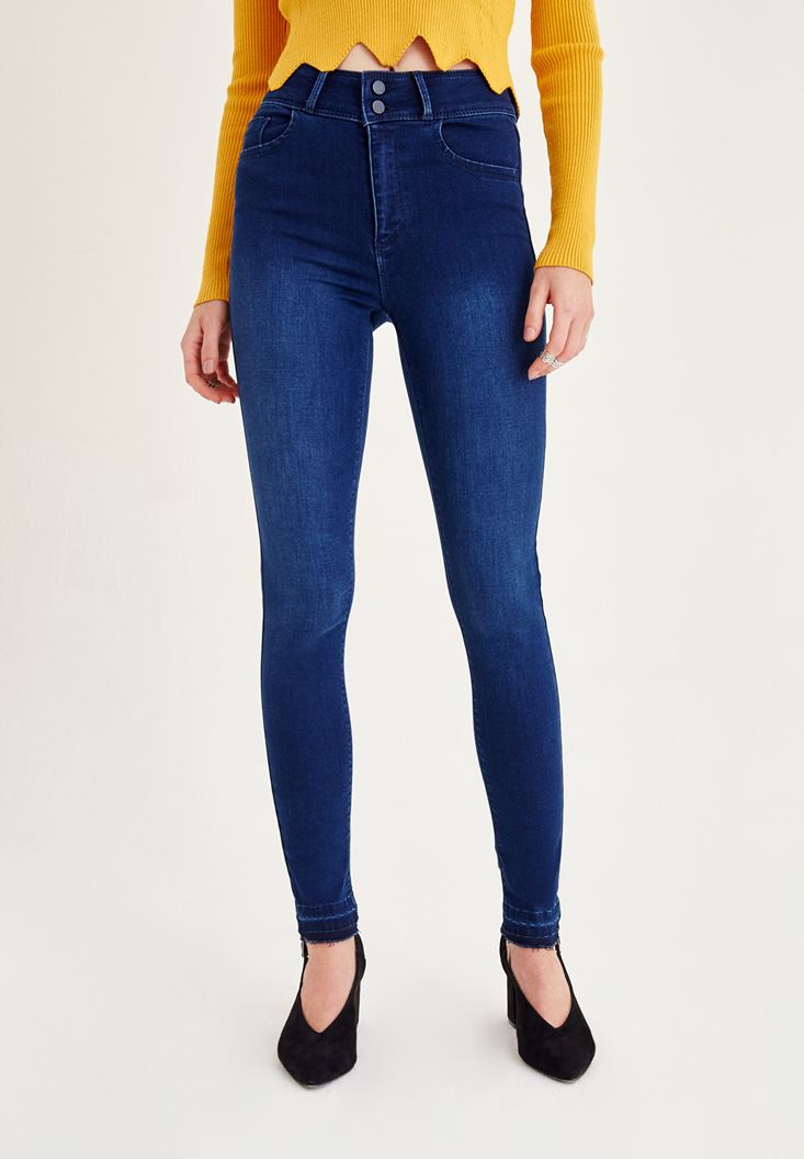 Lacivert Yüksek Bel Paça Detaylı Pantolon