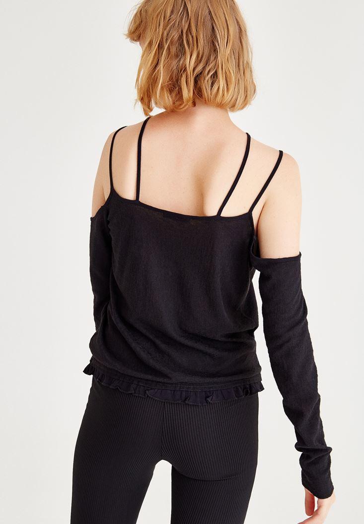Bayan Siyah Omuzları Açık Uzun Kollu Biye Detaylı Bluz