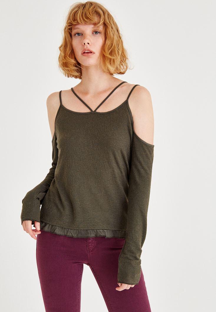 Yeşil Omuzları Açık Uzun Kollu Biye Detaylı Bluz