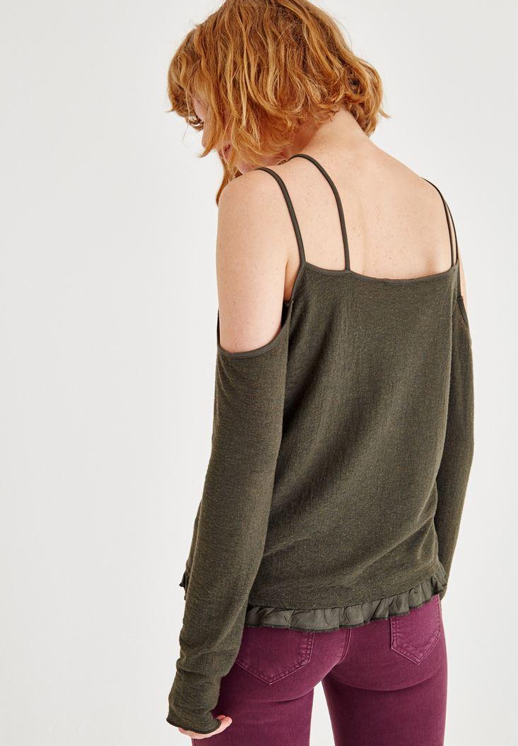 Bayan Yeşil Omuzları Açık Uzun Kollu Biye Detaylı Bluz