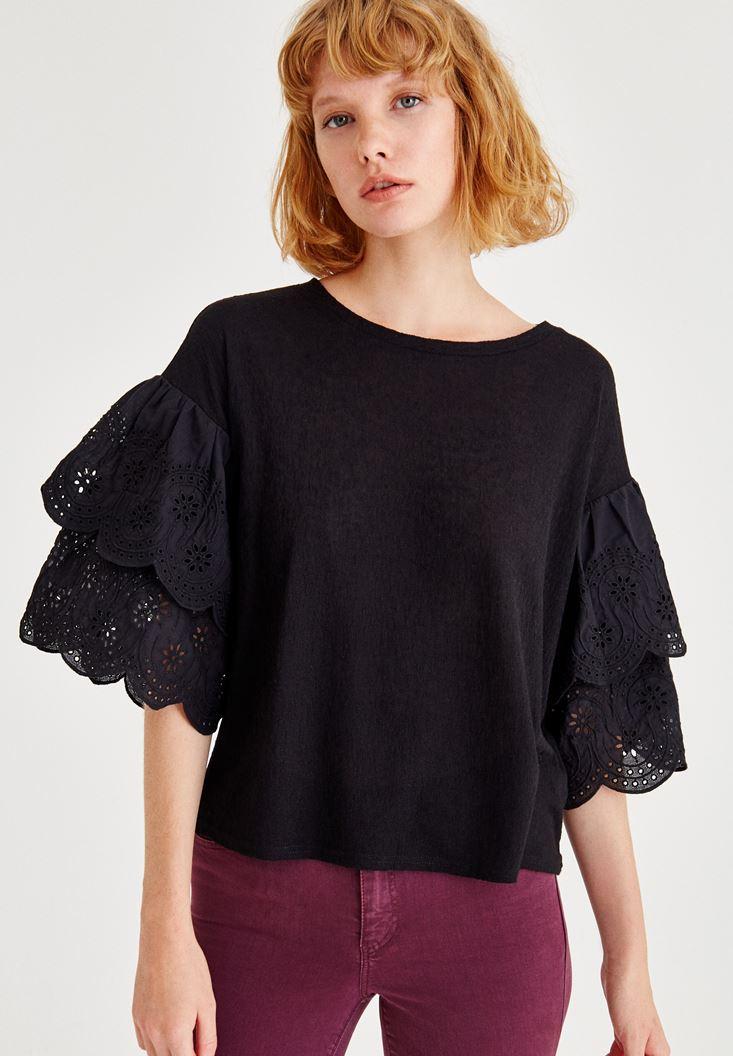 Bayan Siyah Kolları Detaylı Bluz