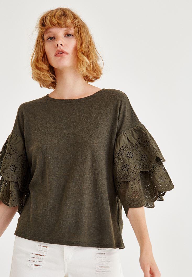 Bayan Yeşil Kolları Detaylı Bluz