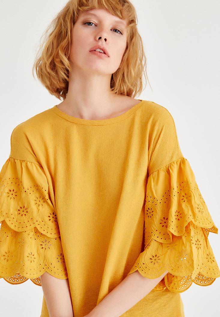 Bayan Turuncu Kolları Detaylı Bluz
