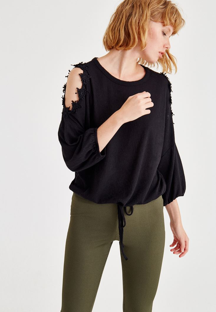 Black Long Sleeve Knitted Pullover With Shoulder Detail