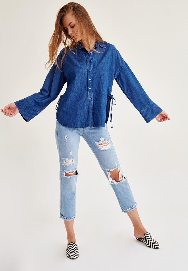 Mavi Yanları Bağlama Detaylı Gömlek