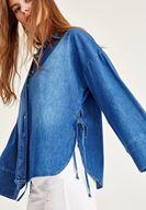 Bayan Mavi Yanları Bağlama Detaylı Gömlek