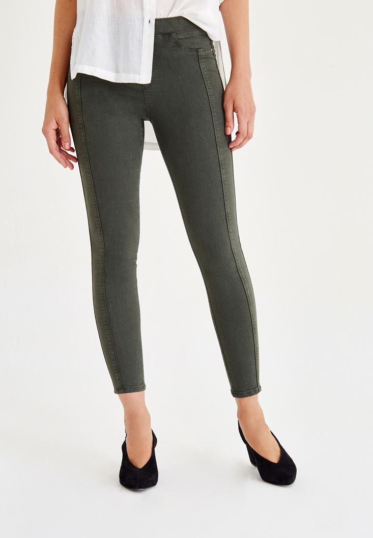 Yeşil Düşük Bel Dikişli Pantolon