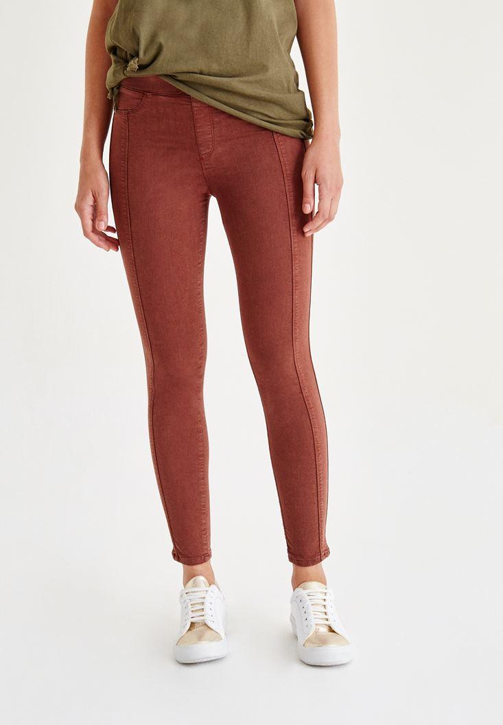 Kahverengi Düşük Bel Dikişli Pantolon