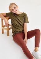 Bayan Kahverengi Düşük Bel Dikişli Pantolon