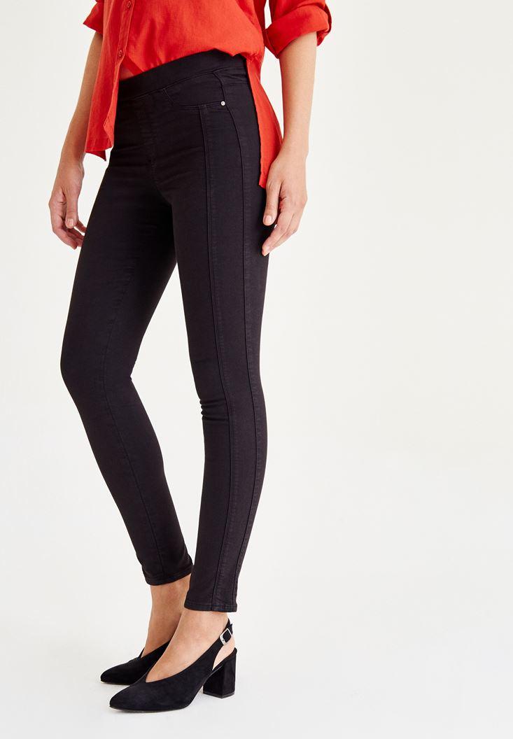 Siyah Düşük Bel Dikişli Pantolon