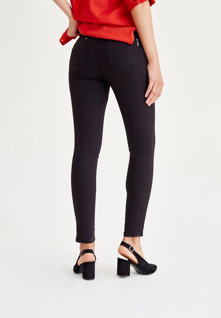 Bayan Siyah Düşük Bel Dikişli Pantolon