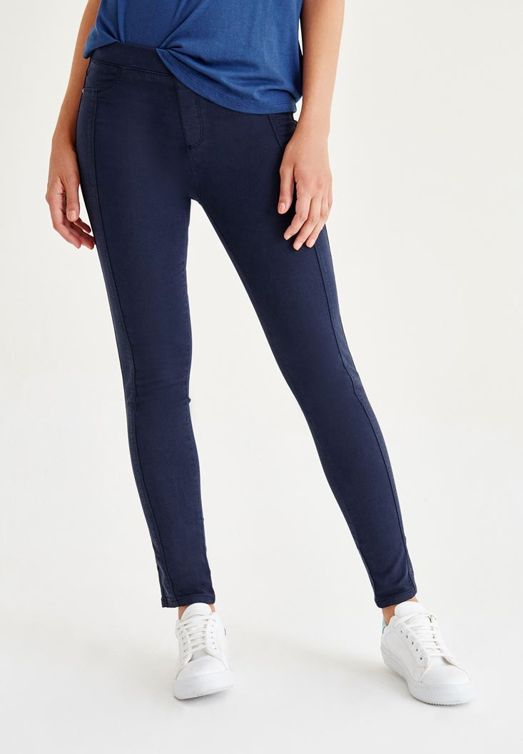 Lacivert Düşük Bel Dikişli Pantolon