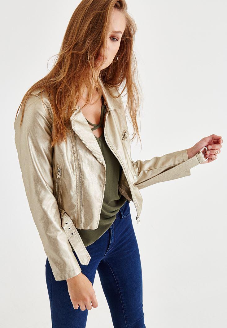 Bayan Altın Kemerli Parlak Biker Deri Ceket