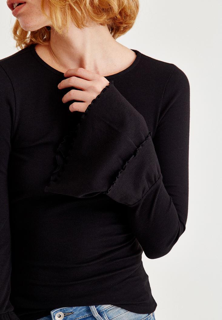 Bayan Siyah Bilekleri Volanlı Bluz