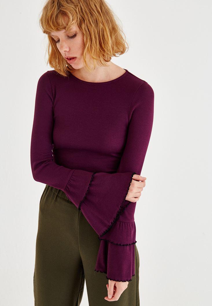 Bayan Bordo Bilekleri Volanlı Bluz