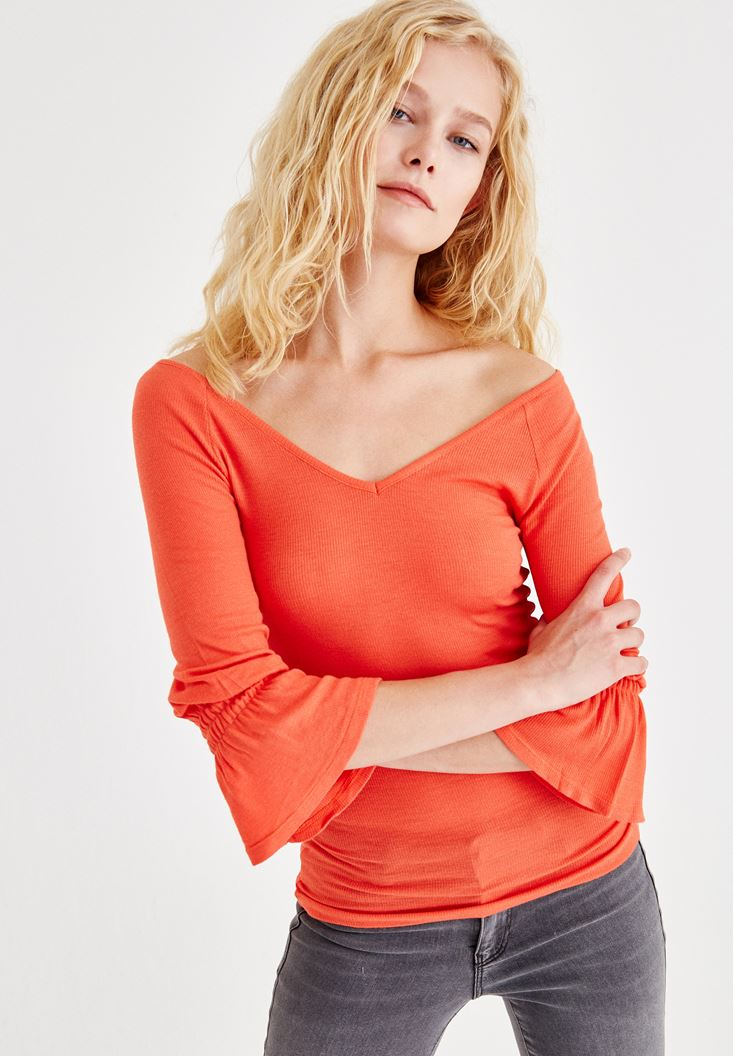 Orange Blouse With Ruffle Arms