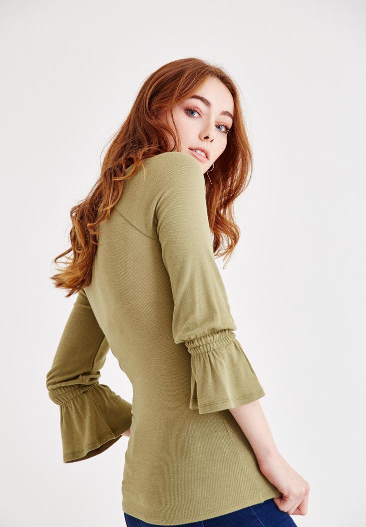 Bayan Yeşil Kolları Fırfır Bluz