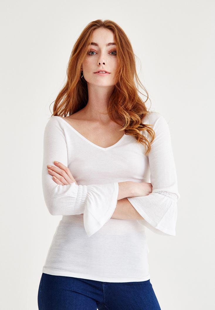 Beyaz Kolları Fırfır Bluz