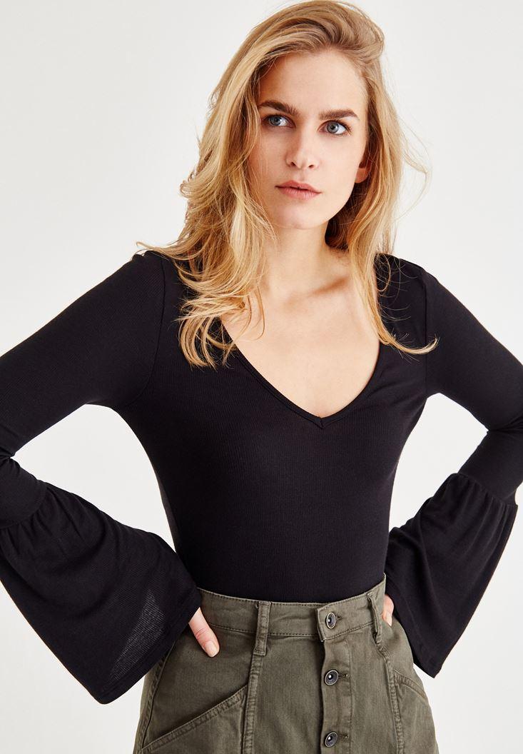 Kahverengi Uzun Kollu V Yaka Tişört