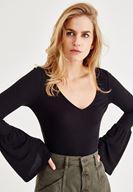 Bayan Siyah Uzun Kollu V Yaka Tişört