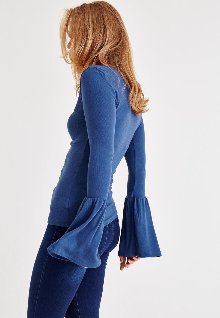 Bayan Mavi Uzun Kollu V Yaka Tişört