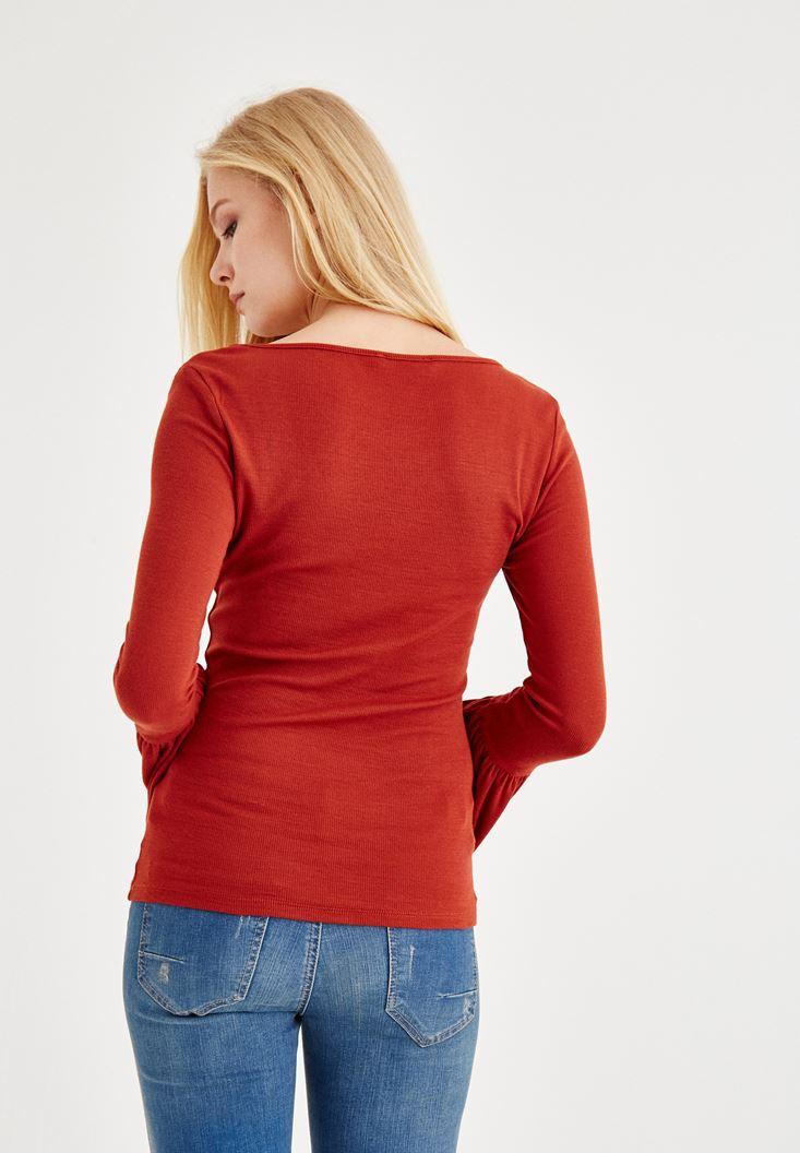 Bayan Kahverengi Uzun Kollu V Yaka Tişört