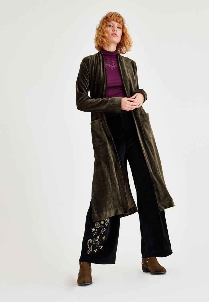 Bayan Bordo Kolsuz Boğazlı Nakış Detaylı Bluz