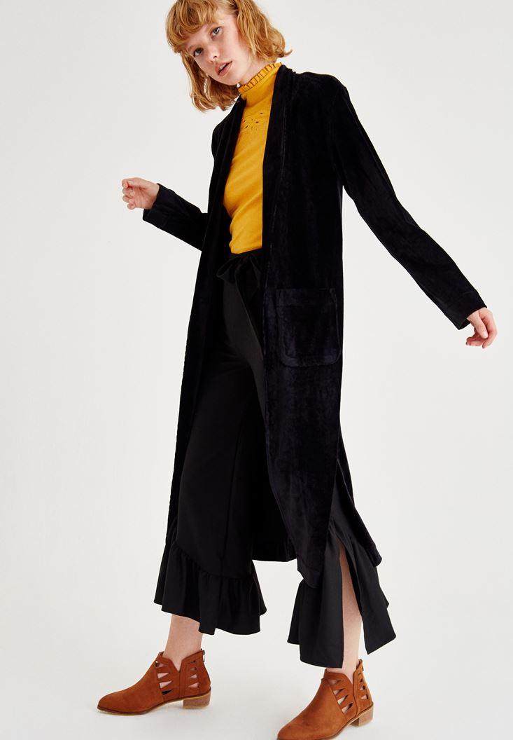 Bayan Turuncu Kolsuz Boğazlı Nakış Detaylı Bluz