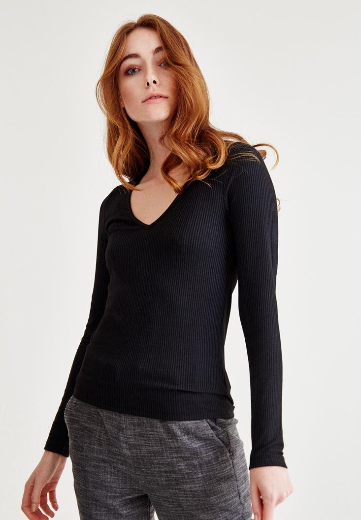 Siyah V Yaka Uzun Kollu Bluz