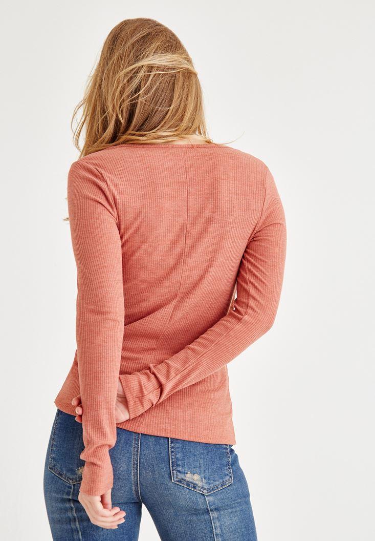 Bayan Kahverengi V Yaka Uzun Kollu Bluz