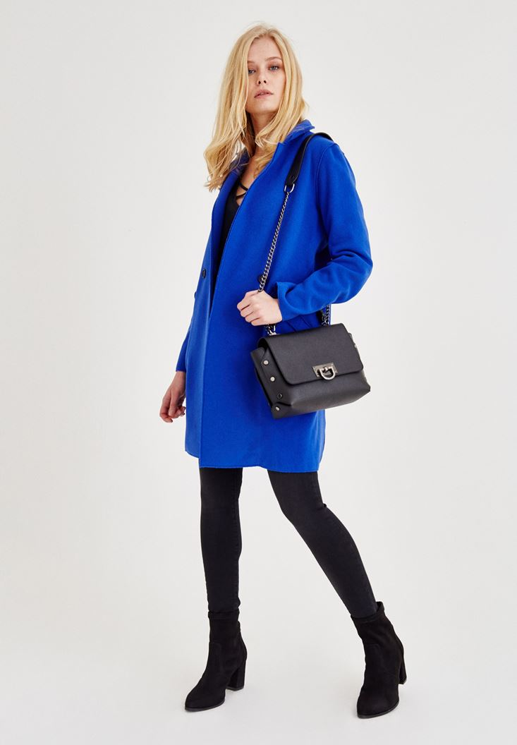 Navy Stitched Cashmere Overcoat