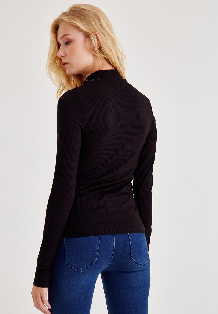 Bayan Siyah Boğazlı Fermuarlı Uzun Kollu Bluz