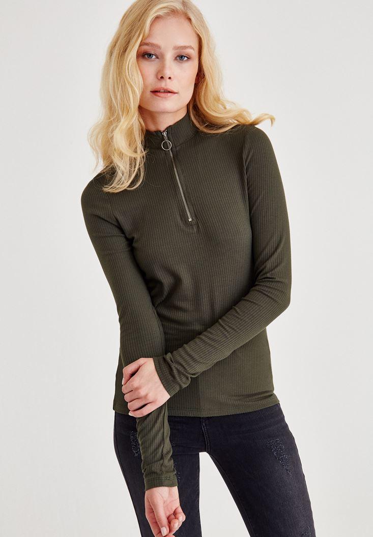 Yeşil Boğazlı Fermuarlı Uzun Kollu Bluz