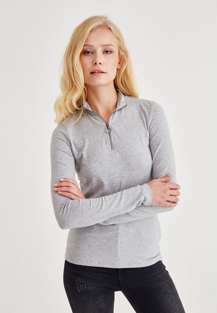 Grey Blouse With Zip Neck