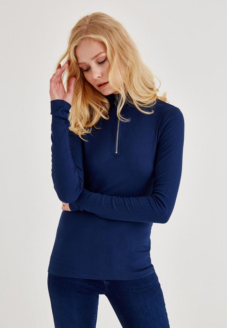 Navy Blouse With Zip Neck