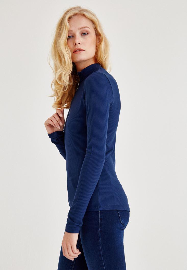 Bayan Lacivert Boğazlı Fermuarlı Uzun Kollu Bluz