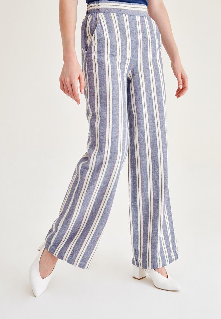 Mavi Çizgili Keten Pantolon