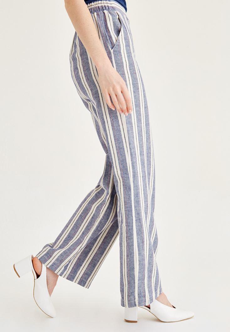 Bayan Mavi Çizgili Keten Pantolon