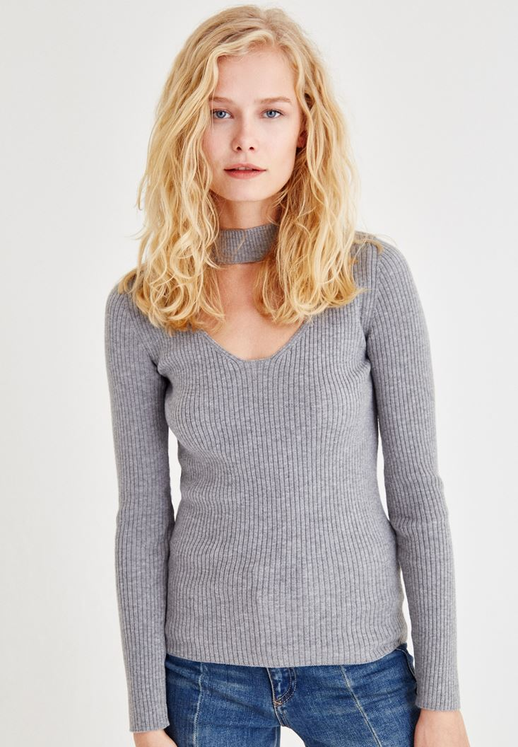 Grey Pullover With Choker Detail