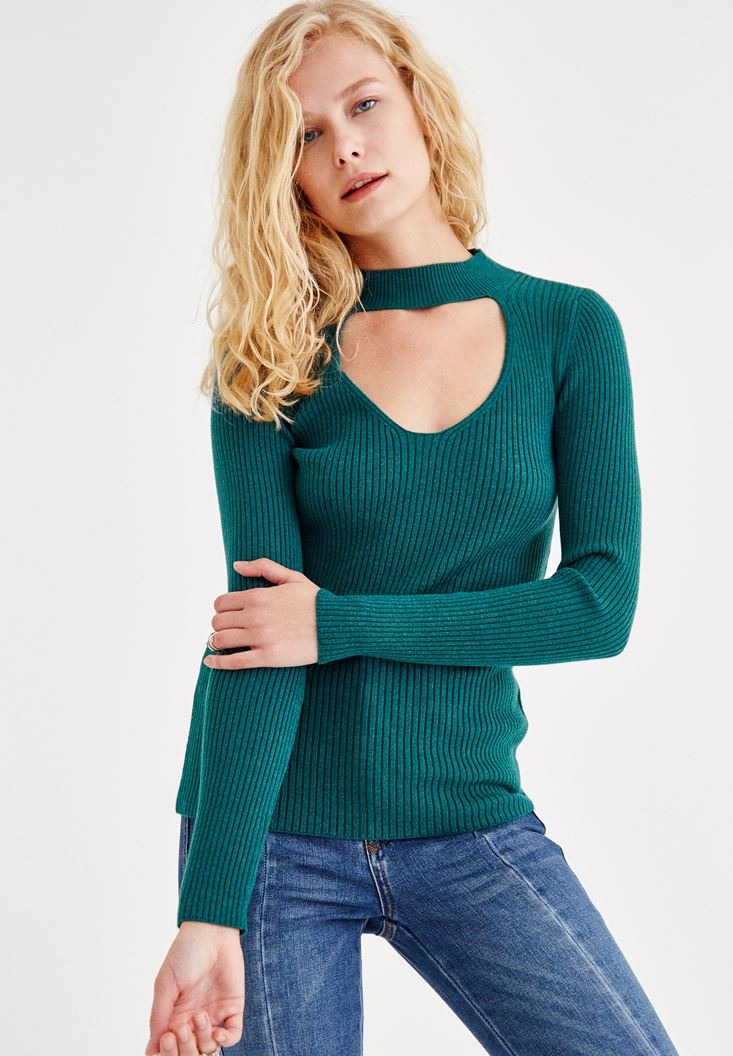 Green Pullover With Choker Detail