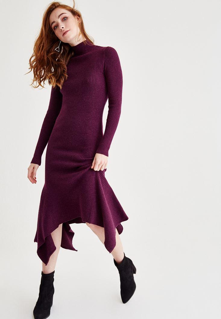 Bordo Volan Detaylı Uzun Elbise